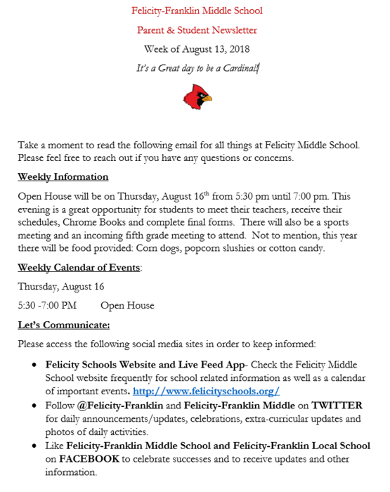Parent and Student newsletter for Felicity-Franklin Middle School. Please take a moment to read to keep up-to-date on what is happening at Felicity-Franklin Middle School.  Its  great day to be a Cardinal.