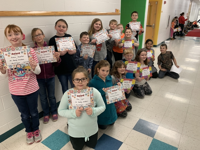 16 students from Mrs. Schaber's class walked the Red Carpet today for doubling their reading goal!