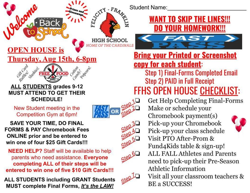 FFHS Open House/Schedule Pick-up!