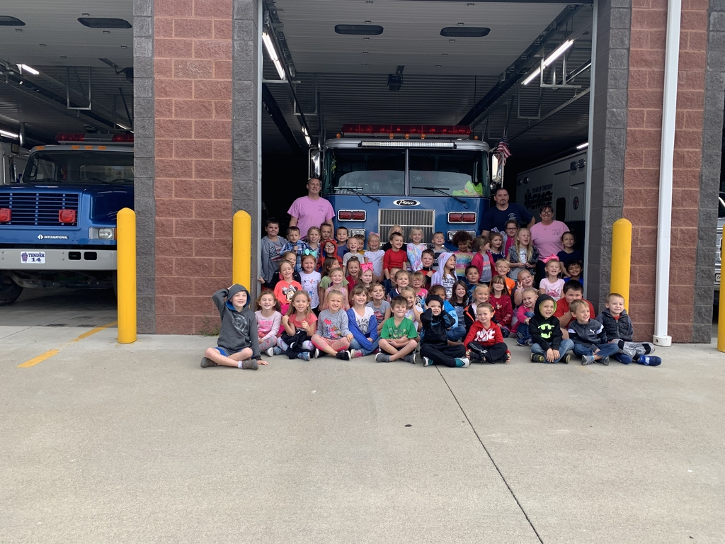 Kindergarten students with the firefighters!